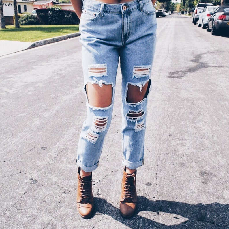 8758c3f26e1 Distressed mom jeans  boyfriend