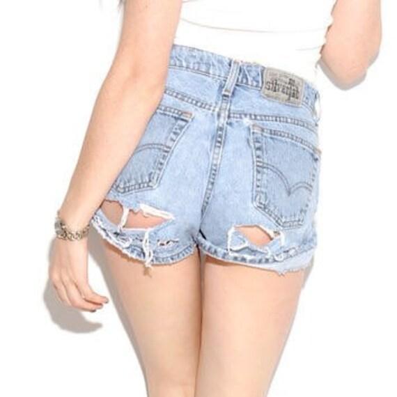 702fbea8 High waisted shorts Cheeky Distressed high waist shorts | Etsy