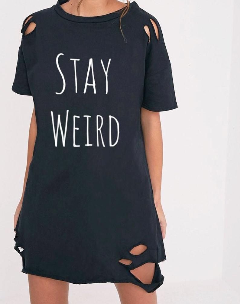 ad4a5c1e2966 Oversized Womens Distressed T shirt dress Inspirational Tee