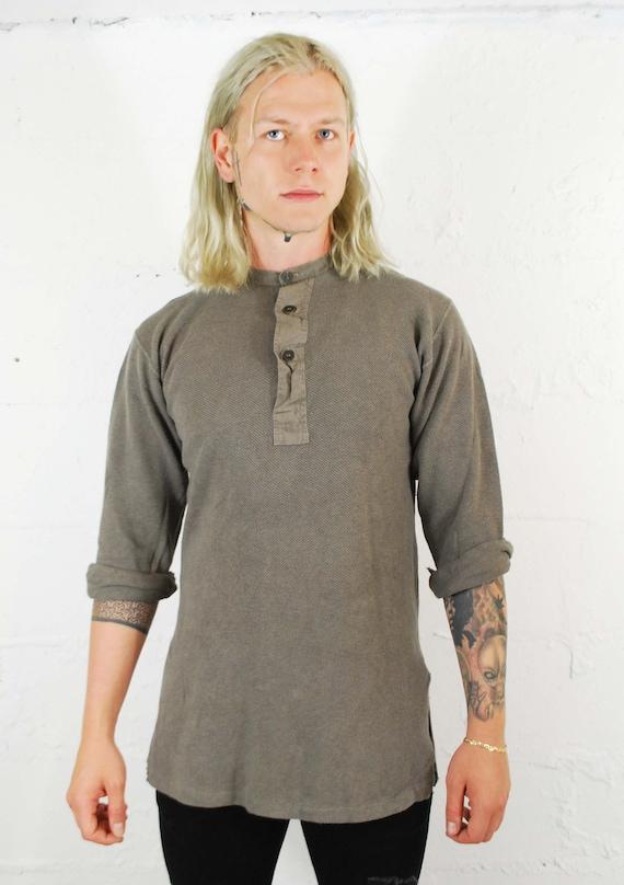 Vintage 1930s Slim Fit Cotton Smock Shirts - Beig… - image 7