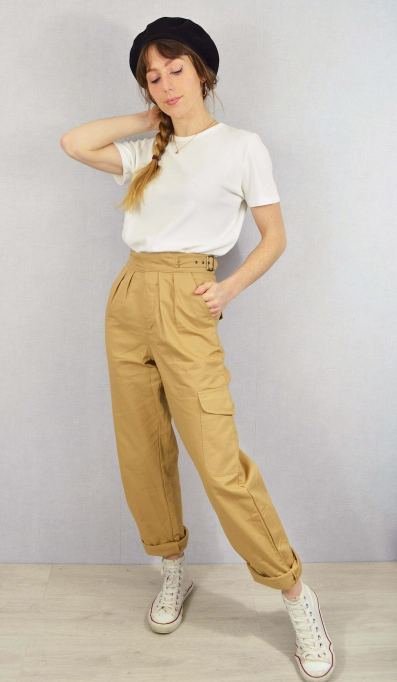 1940s Swing Pants & Sailor Trousers- Wide Leg, High Waist     Unisex High Waisted Gurkha Pants - 100% Cotton - 1950s Army Style Trousers - Buckle Adjustable - Tan Beige or Army Green - All Sizes $71.57 AT vintagedancer.com