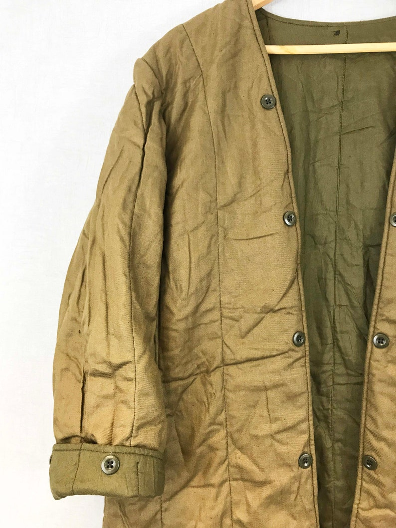 S M L Vintage Army Liner Quilted Jacket Fabric Tan Brown Khaki