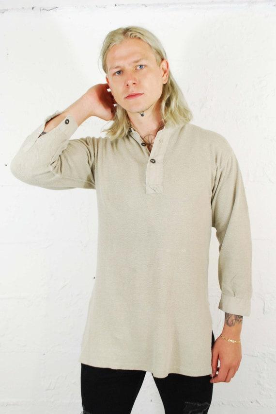 Vintage 1930s Slim Fit Cotton Smock Shirts - Beig… - image 6