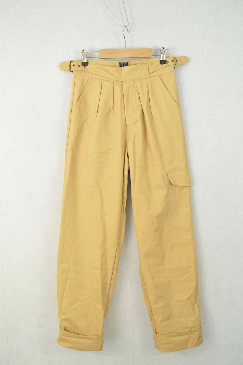 1940s Trousers, Mens Wide Leg Pants Gurkha Pants British Military 1950s 7 oz Army Trousers Belted Pleated Front Cotton - Beige Sand $73.79 AT vintagedancer.com