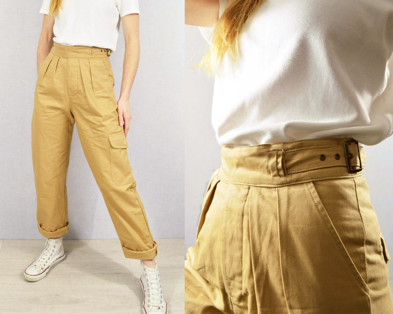 1950s Pants & Jeans- High Waist, Wide Leg, Capri, Pedal Pushers Gurkha Pants British Military 1950s 7 oz Army Trousers Belted Pleated Front Cotton - Beige Sand $73.79 AT vintagedancer.com