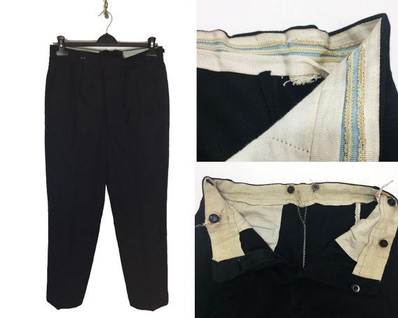 Vintage 1920s Bespoke Goth Black Tie Evening Dinner Trousers 30 32 34 36 38 40