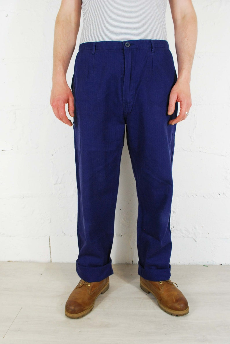 Vintage French Work Pants Herringbone Twill Cotton Chore Trousers Navy Blue