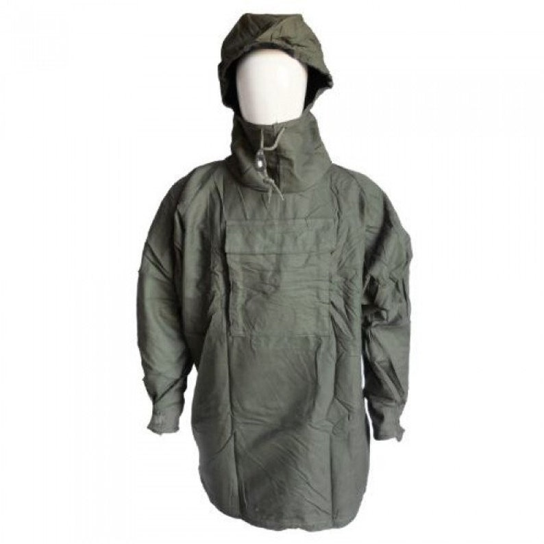 VTG Plus Size Belgian Army Green Thick Button Up Hooded Smock Shirts XL 2XL 3XL