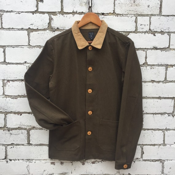 60s Style French Olive Green Cotton Twill Corduroy Chore Work Jacket All Sizes
