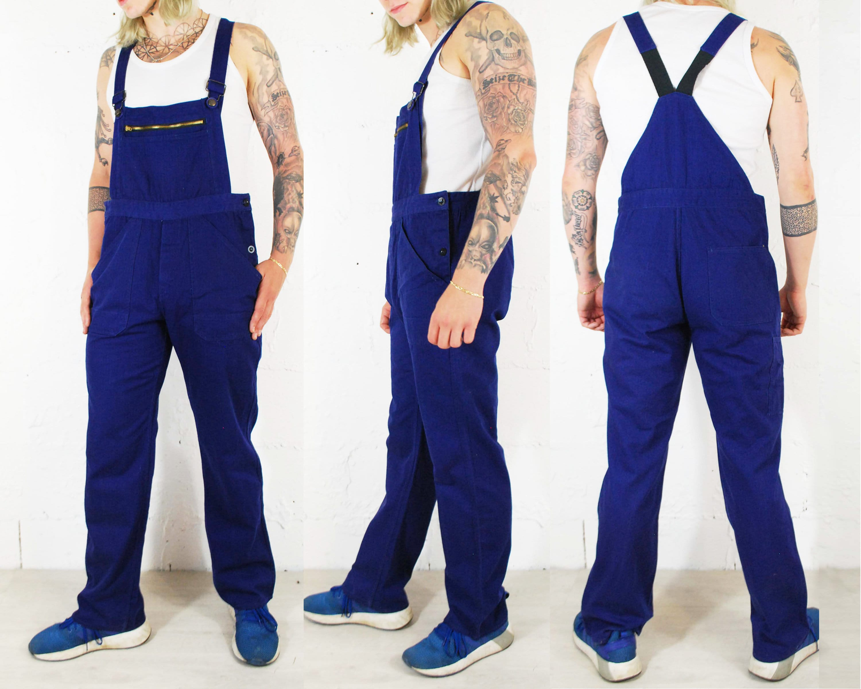 Various Sizes Vintage French Herringbone Twill Workwear Overalls Navy Blue