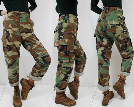 90s Camo Pants Khaki Green Cargo Combat Trousers   Vintage / Grunge   All Sizes by Etsy