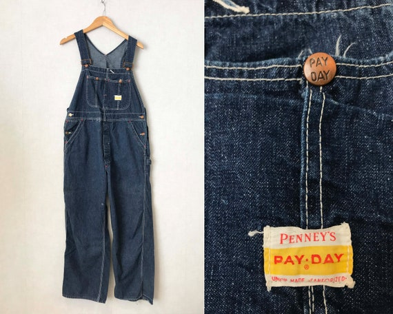 Vintage 40s 50s Denim Dungarees PENNY'S PAY DAY Wo