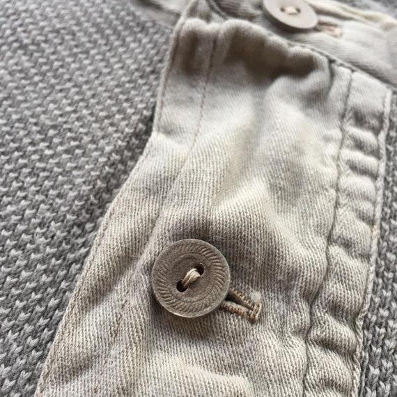 Vintage 1930s Slim Fit Cotton Smock Shirts - Beig… - image 3