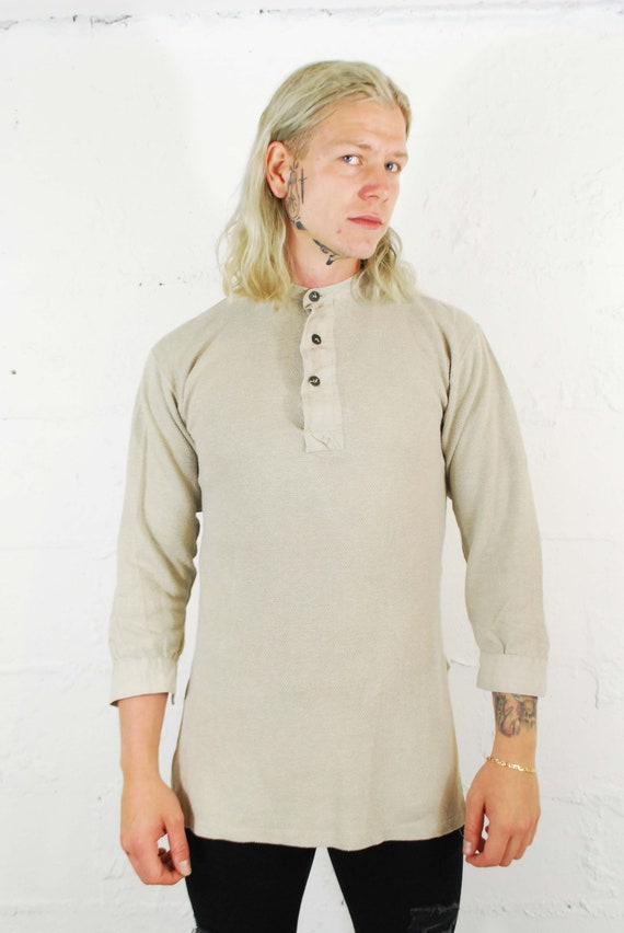 Vintage 1930s Slim Fit Cotton Smock Shirts - Beig… - image 5