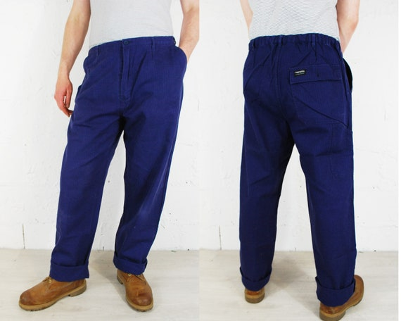 Vintage French Work Pants Herringbone Twill Cotton