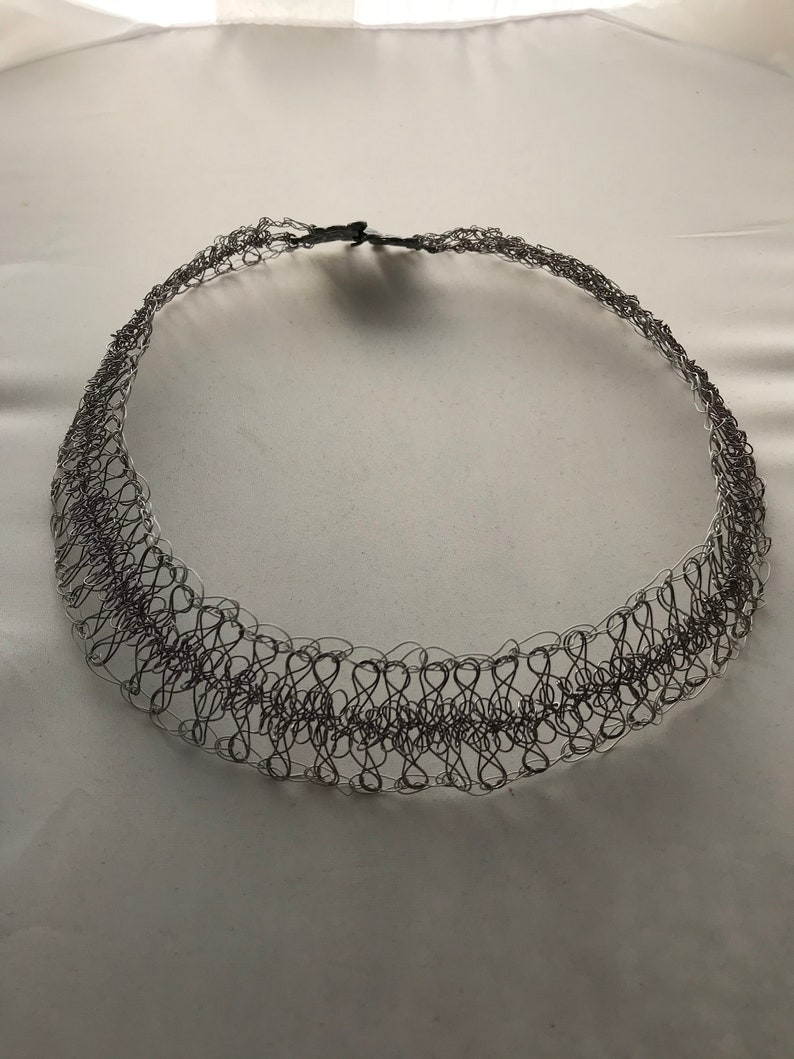 Gunmetal and White Wire Crochet Hairpin Lace Choker Necklace \u2014 Lady of the Lace
