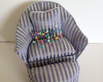 Upholstered Chair,Pillow & Footstool Pin Cushion Set