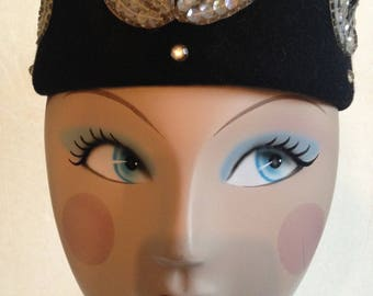 Vintage 60's Henry Pollack Glenover Black Wool & Embellished Rhinestone Pillbox Hat