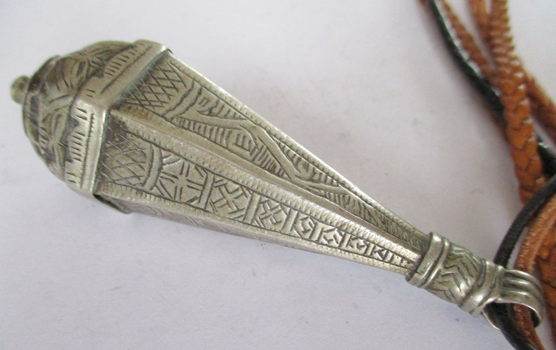 Old Sterling Silver Prayer box Medallion Flacon Marrakech Faouzi Touka Berber tribal Algeria Morocco Prayer Storage