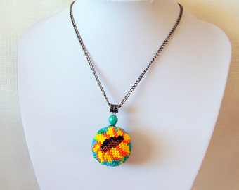 Big Beaded Sphere Pendant with Sunflower - Ball pendant - Bead crochet pendant - Modern Pendant Necklace - Flower Pendant Necklace