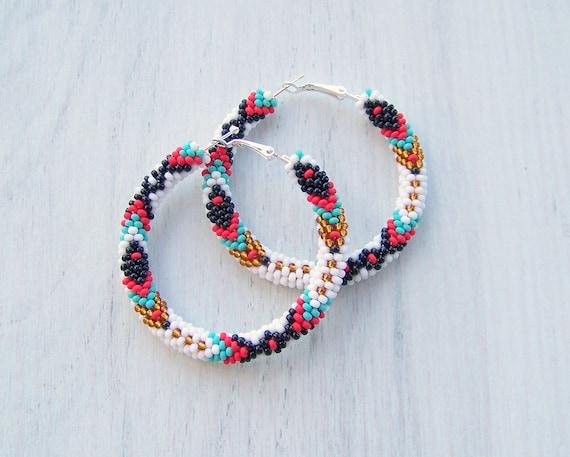 Native American Inspired Beaded Hoop Earrings Navajo Hoop Etsy