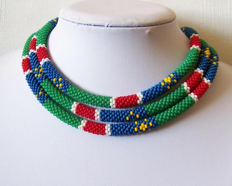 Lunga Collana Di Stile Africano Collana Di Perline Uncinetto Etsy