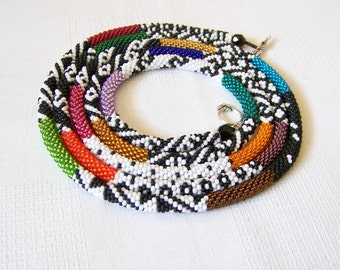 Long Beaded Crochet Rope Necklace - Beadwork - Seed beads jewelry - 17 colors Elegant necklace - Geometric - Patchwork - Modern necklace
