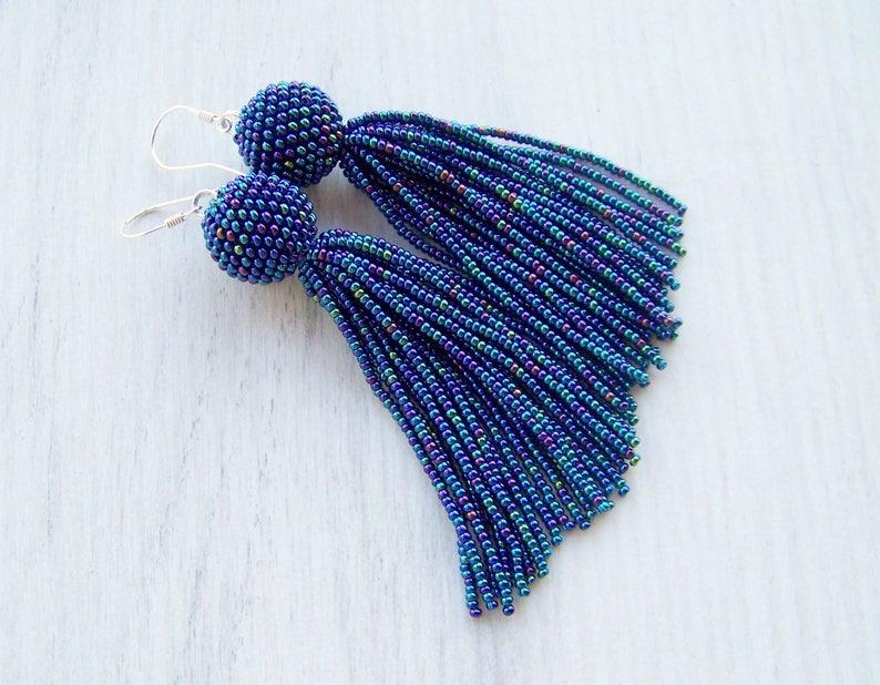 Statement Earrings Dangle Iridescent blue earrings Long tassel earrings beadwork earrings Beaded tassel earrings Fringe earrings
