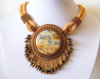 Beadwork Bead Embroidery Pendant Necklace with Mexican Crazy Agate - AMBER WHISPER - Creamy amber and brown statement modern necklace