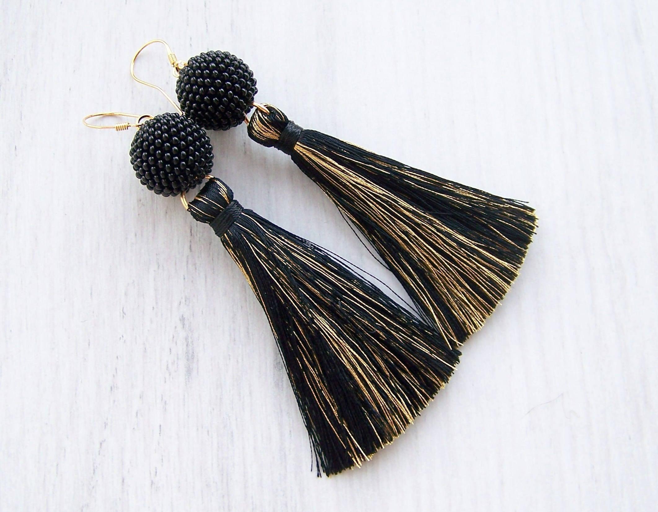 Fringe earrings Lightweight  Dangle long tassle earrings Pink and Gold silk tassel and beaded ball earrings Statement Earrings