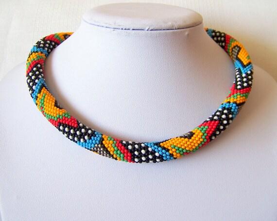 Perle Häkeln bunte Halskette mit geometrischem Muster bunte | Etsy
