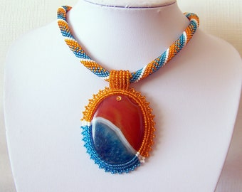 Bead Embroidery Beadwork Pendant Necklace with multi-color Agate - ORANGE and BLUE DREAM - statement modern necklace - orange, blue, white
