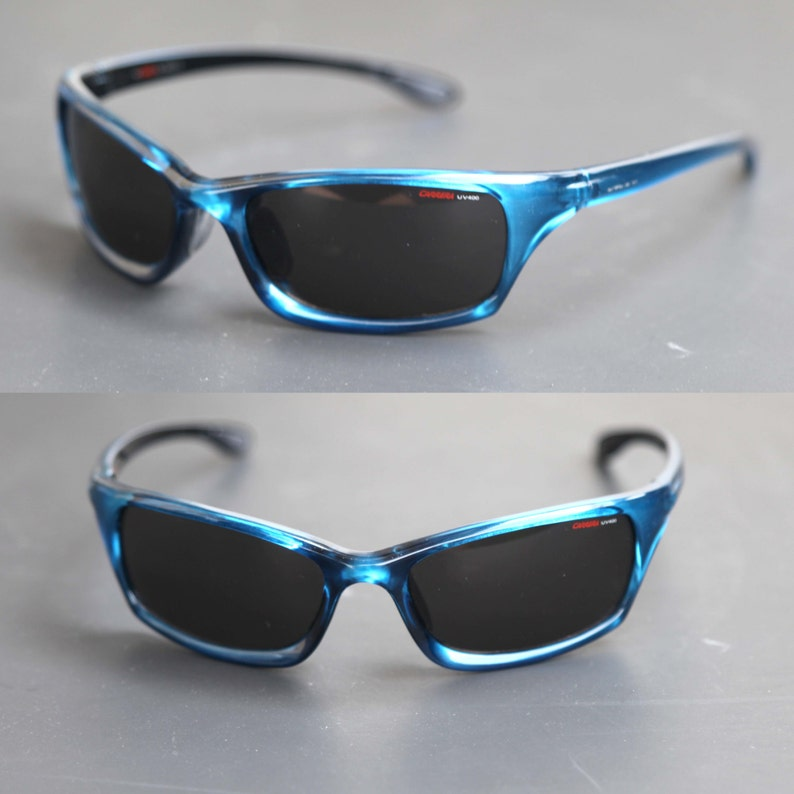 96d152908b CherryREVOLVER Vintage 90s CARRERA UV 400 Sports Wrap Blue