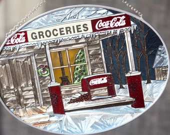 cherryREVOLVER Coca Cola Stained Glass Groceries Store Glass Oval Window Christmas Tree Wreath Frosted Glass Scene