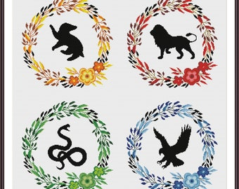 Hogwarts Four House Floral Crests 2 - Harry Potter Cross stitch pattern PDF Instant Download