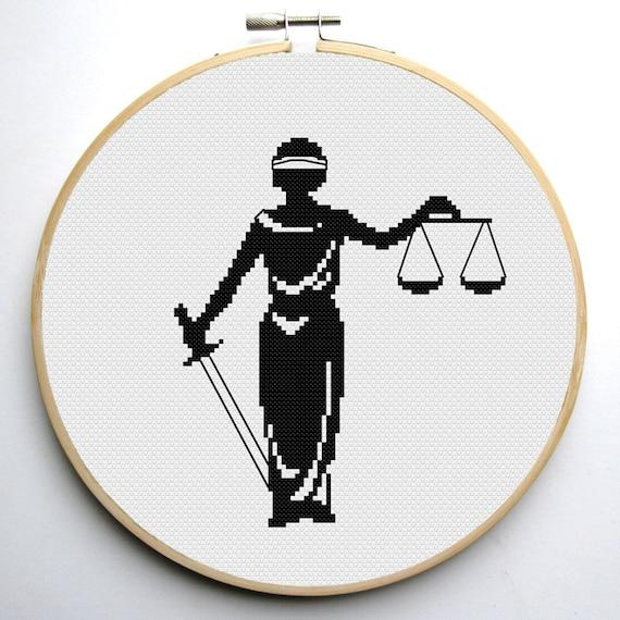 Cross Stitch Pattern Pdf Lady Justice Symbol Of Justice