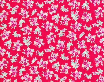 Tiny Red Flowers - Tiny Pink Flowers - Red Fabric - Flower Sugar Berry Fabric - Lecien Fabric