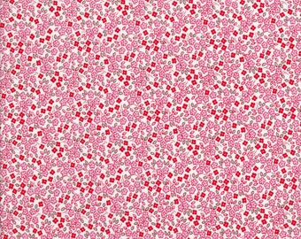 Pink Floral Fabric - Apple Farm - Elez Lutz - Penny Rose Fabric - Red Fabric