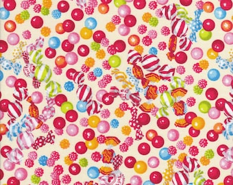 Gum Drop Fabric - Toffee Candy Fabric - Candy Fabric - Candy Shop Fabric - Yellow Fabric - Lecien Fabric