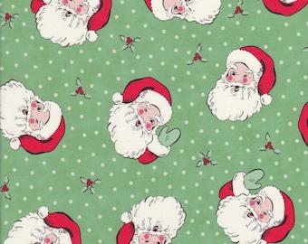 Swell Christmas - Green Santa Fabric - Polka Dot Fabric - Urban Chiks - Moda Fabric