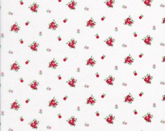 Small Red Floral Fabric - Red Floral Fabric - Pink Tiny Floral Fabric - A Little Sweetness - Tasha Noel - Riley Blake