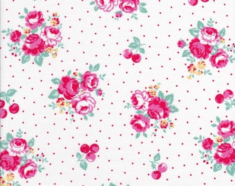 Pink Rose Cluster - Pink Flowers - Yellow Flowers - Cherry Fabric - White Fabric - Flower Sugar Berry Fabric - Lecien Fabric