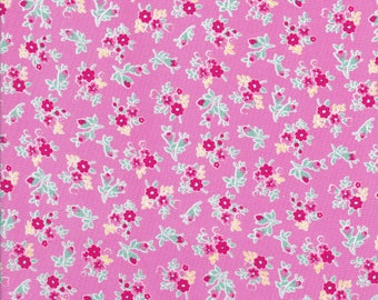 Tiny Pink Flowers - Tiny Red Flowers - Pink Fabric - Flower Sugar Berry Fabric - Lecien Fabric