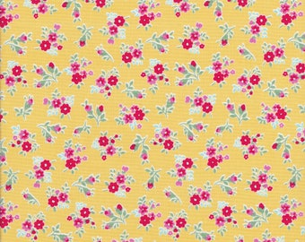Tiny Red Flowers - Tiny Pink Flowers - Yellow Fabric - Flower Sugar Berry Fabric - Lecien Fabric
