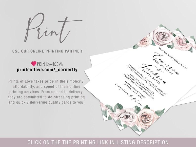 Rehearsal Dinner Card Invite Floral Rose Blush Watercolor BB20 Digital Download Editable Template Rehearsal Dinner Invitation Template