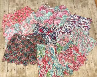 Lilly Pulitzer inspired scalloped pajama shorts