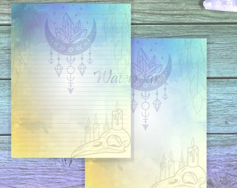 Raven Skull Paper   Magic Page   Occult Stationery Paper   Writing Paper   Letter Writing   Candle Magic Page   Spell Paper   Grimoire Page