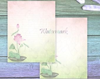 Lotus Writing Paper   Lotus Stationery Set   Pink Lotus Pages   Zen Writing Paper   Junk Journal   Meditation Paper   Letter Writing Paper