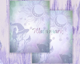 Witch and Black Cat Paper   Witch Stationery   Moon Spell Page   Writing Paper   Stationery Pages   Witchcraft Page   Halloween Letter Paper