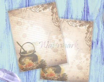 Cauldron Writing Paper   Cauldron Stationery   Witch Brew Page   Junk Journal Paper   Letter Writing   Halloween Pages   Cooking Page